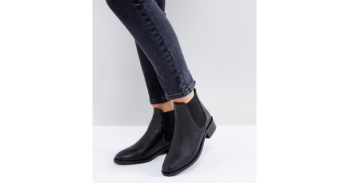 04750ee3364b ASOS Asos Absolute Wide Fit Leather Chelsea Ankle Boots in Black - Lyst