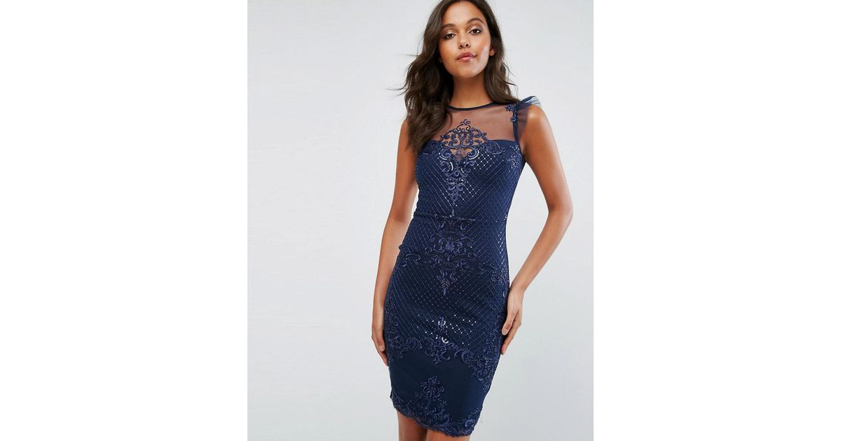 c41326d5 Lipsy Michelle Keegan Love Sequin Frill Lace Bodycon Dress in Blue - Lyst