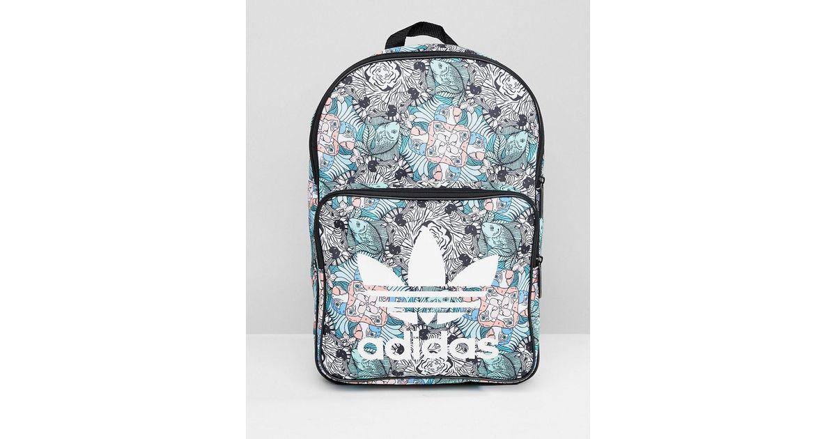 87d77de5d204 Lyst - adidas Originals Classic Backpack In Floral Zebra Print in Blue
