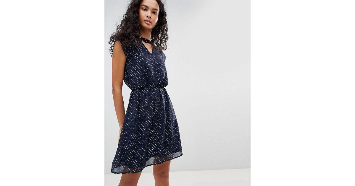 Lyst - ONLY Rosalyn Choker Skater Dress in Blue 161ff4b26