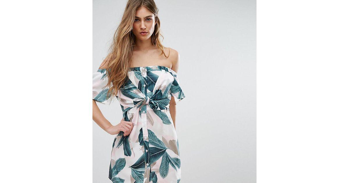 b44c3c8d9eb5 Lyst - Missguided Tropical Print Bardot Dress in Blue