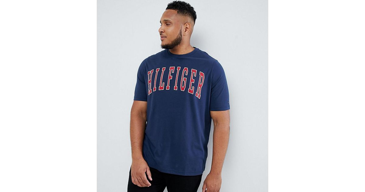 5d44cc7b Tommy Hilfiger Big & Tall College Logo Print T-shirt In Navy in Blue for  Men - Lyst