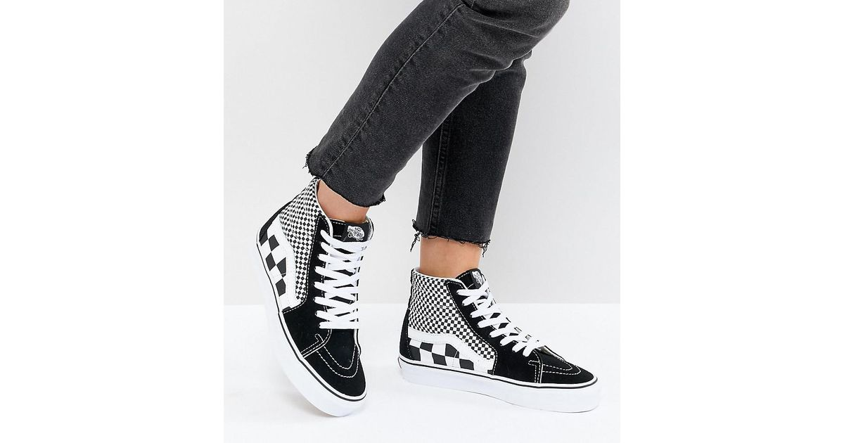 5a2058f5236301 Vans Sk8 Hi Trainers In Mixed Checkerboard in Black - Lyst