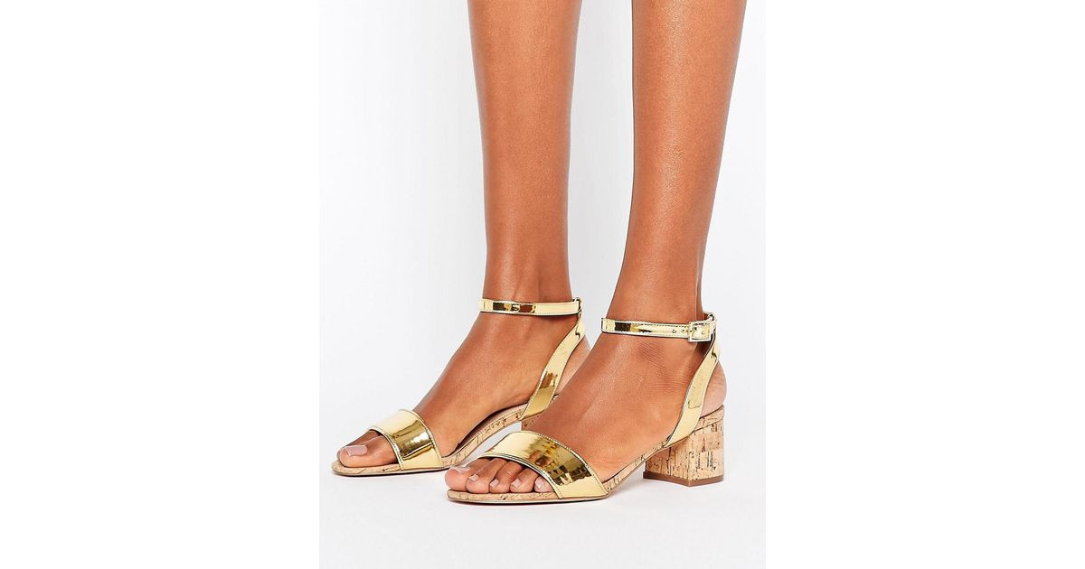 f83b8c634114 Lyst - Asos Totally You Mid Heeled Sandals in Metallic