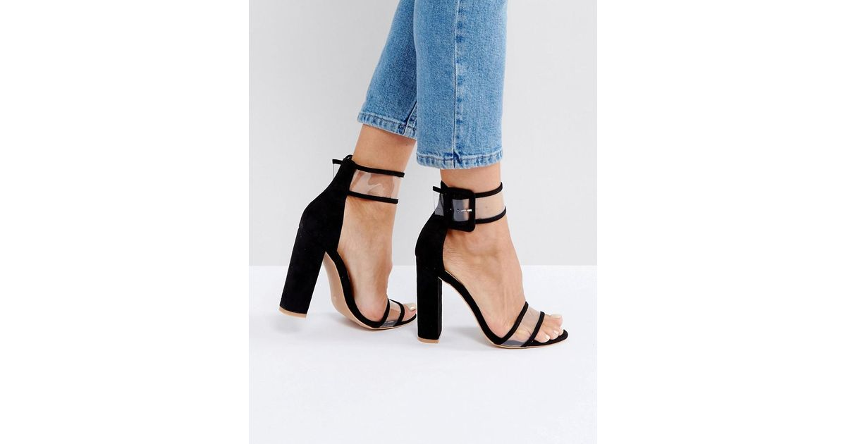 6252bafea29 Public Desire Mission Black Clear Strap Block Heeled Sandals in Black - Lyst