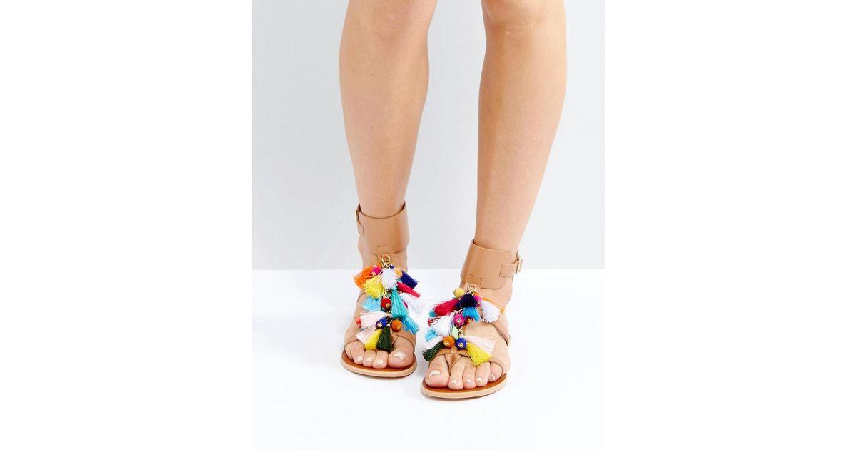 3df165314f02 Lyst - Steve Madden Colorful Tassel Gladiator Sandals