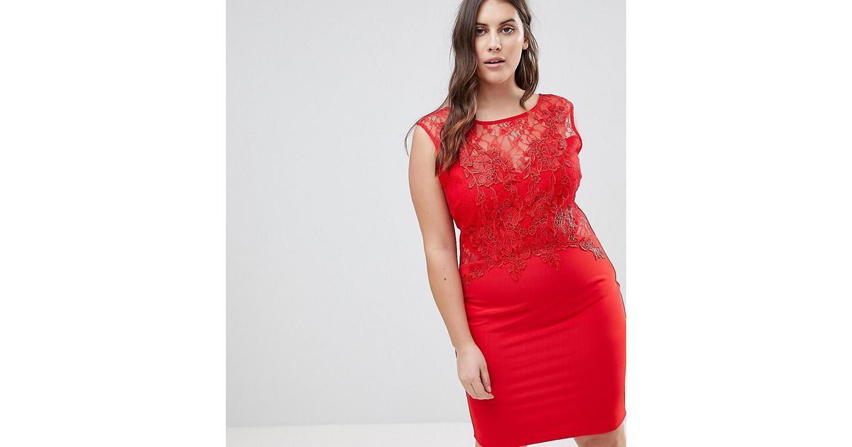 Lipsy lace applique bodycon dress in red lyst