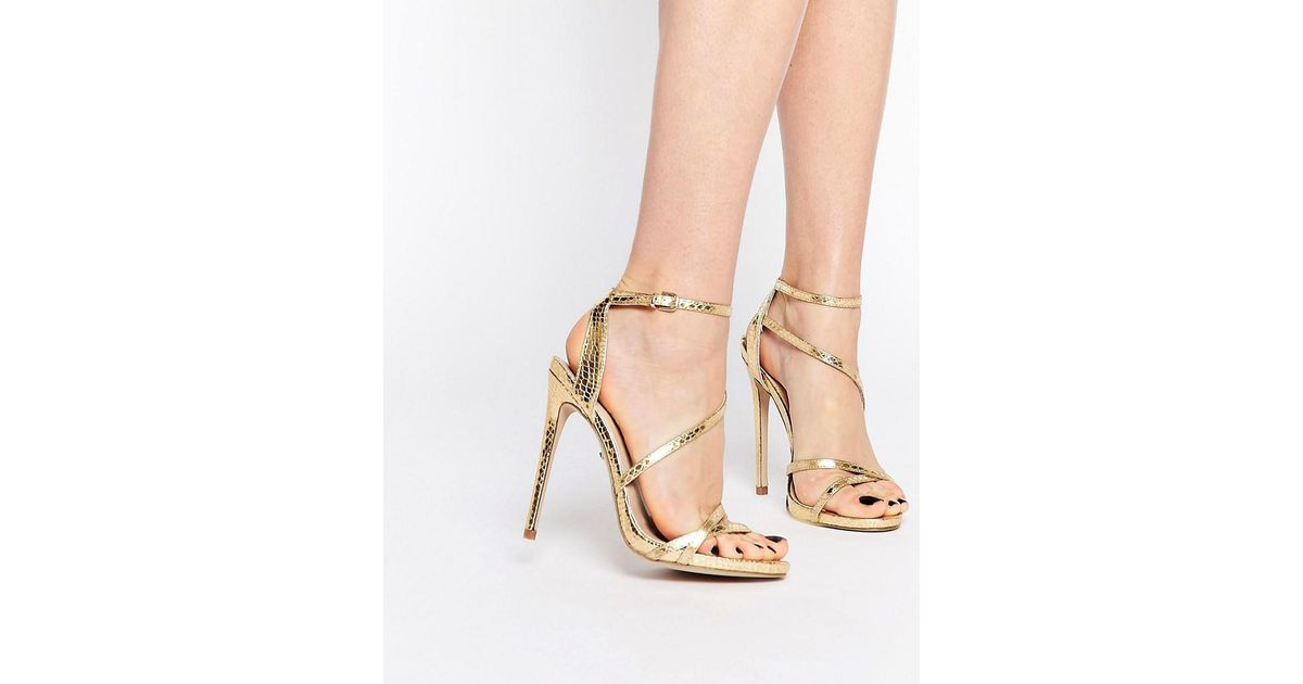1b6ef85617e0 Lyst - Carvela Kurt Geiger Georgia Gold Strappy Barely There Sandals in  Metallic