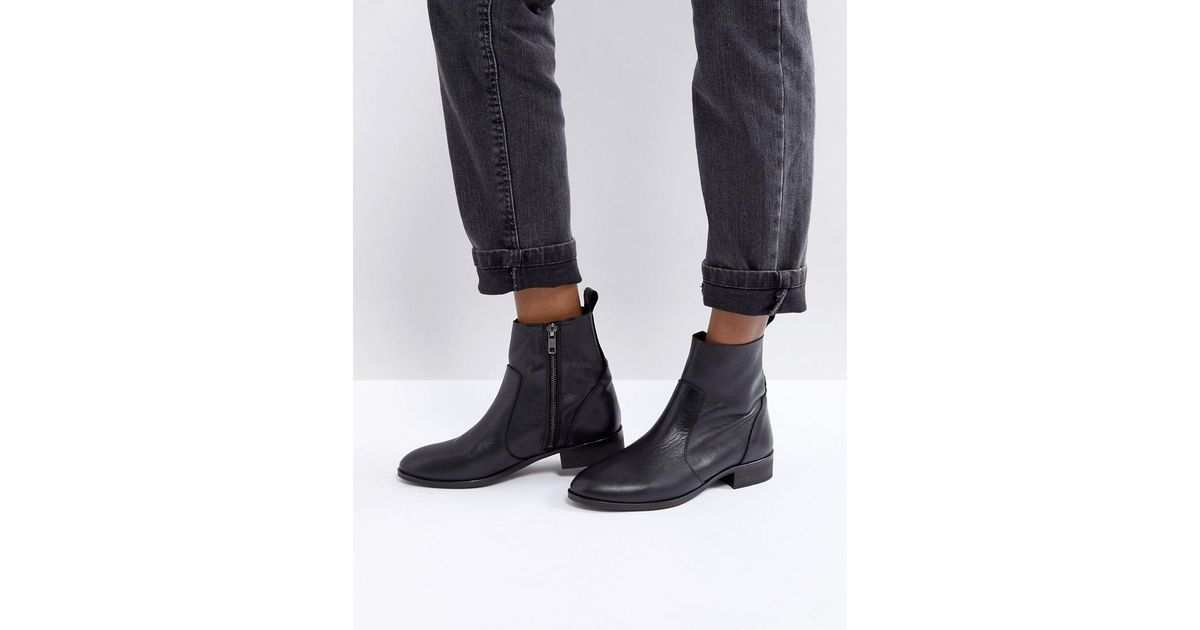79953e409 Office Ashleigh Black Leather Flat Ankle Boots in Black - Lyst