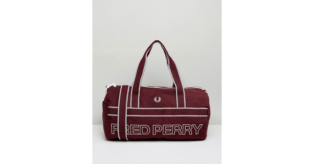 Fred Perry Sports Canvas Barrel Bag Maroon in Red for Men - Lyst ce1b921ee6486