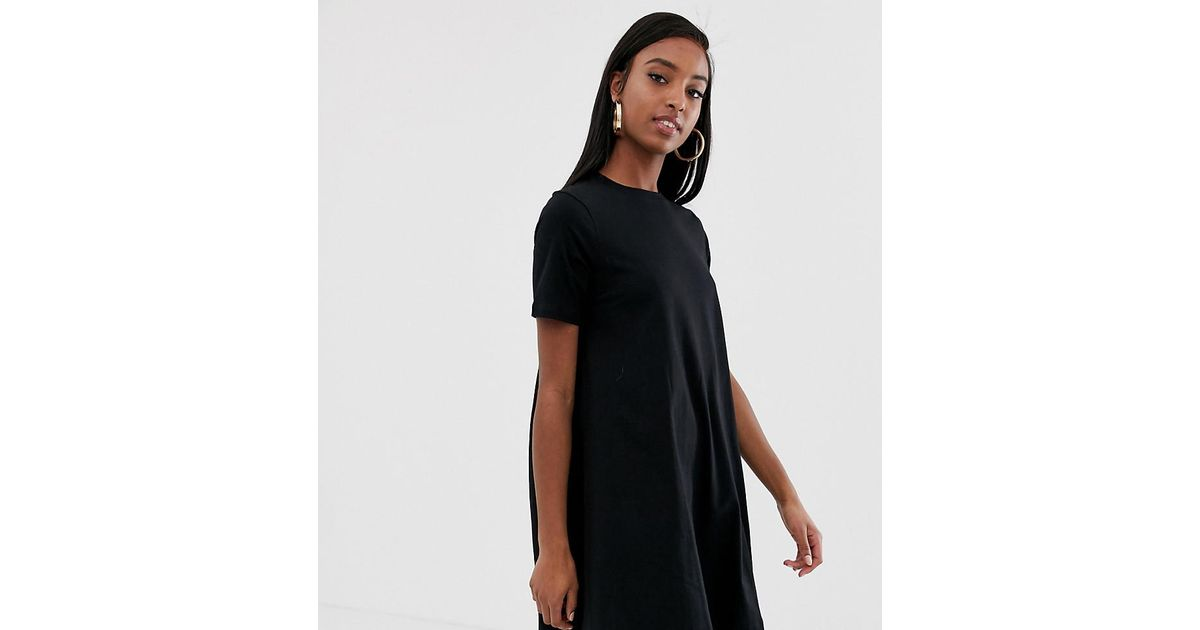 985a085453571 Lyst - ASOS Asos Design Tall Mini T-shirt Dress With Smock Back in Black