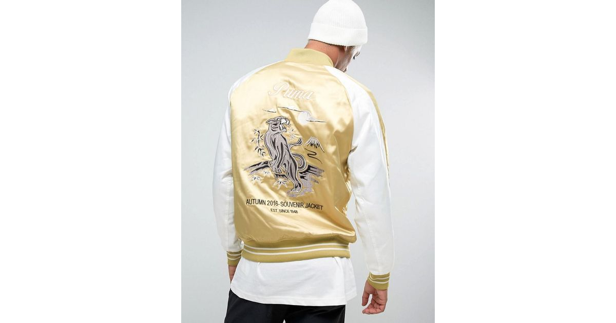 c4ea7419075 Lyst - PUMA Embroided Souvenir Jacket In Beige Exclusive To Asos in Green  for Men