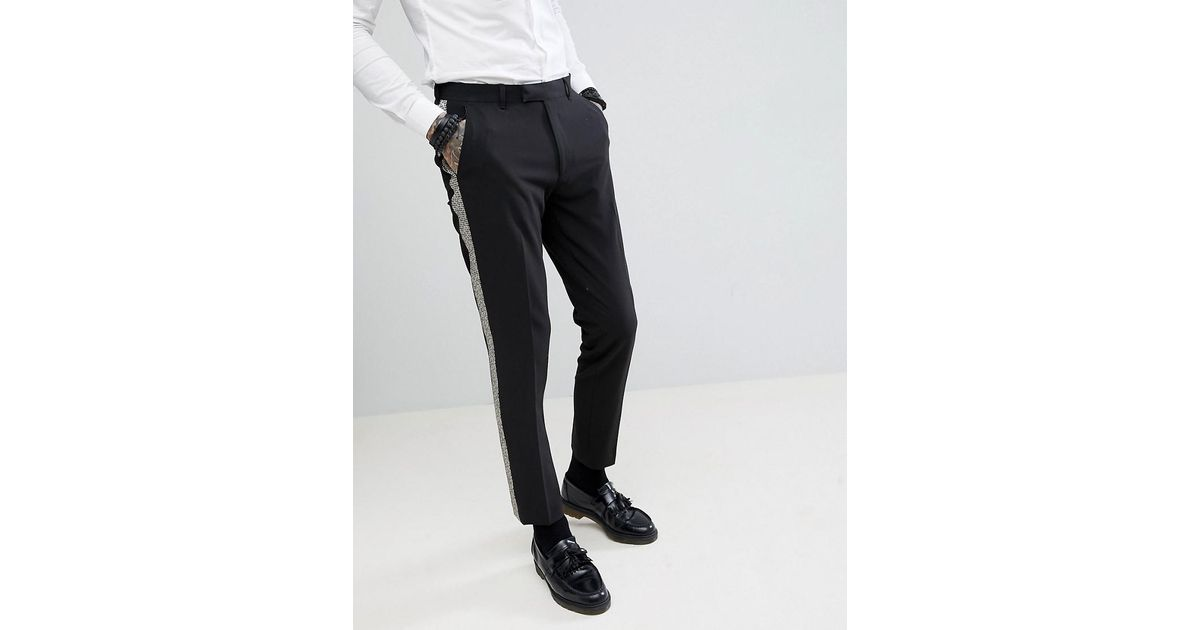 24d7d190e674 ASOS Skinny Tuxedo Suit Pants In Black With Gold Honeycomb Effect Side  Stripe in Black for Men - Lyst