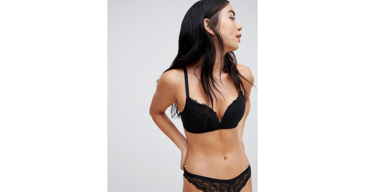 15411db8ac Asos Push Up Non Wired Moulded Bra In Lace in Black - Lyst