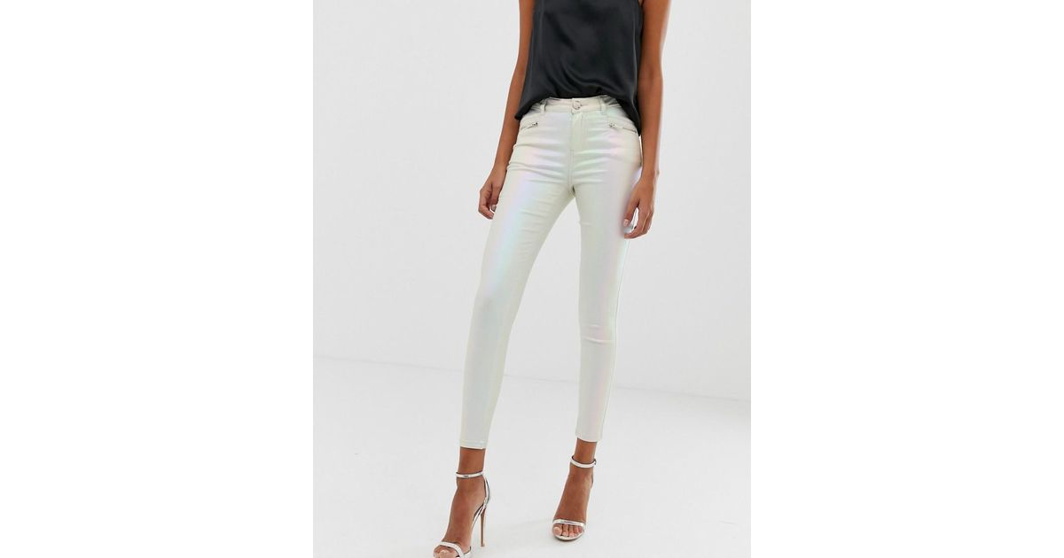838f5e5ffa806e Lipsy Coated Skinny Jeans In Pearlescent Cream in Pink - Lyst