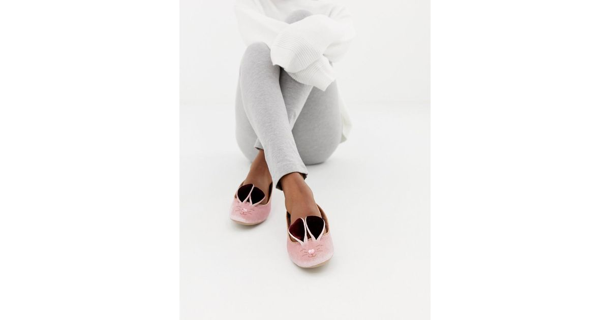 3a83d4c9077d Lyst - Ted Baker Pink Velvet Bunny Slippers in Pink