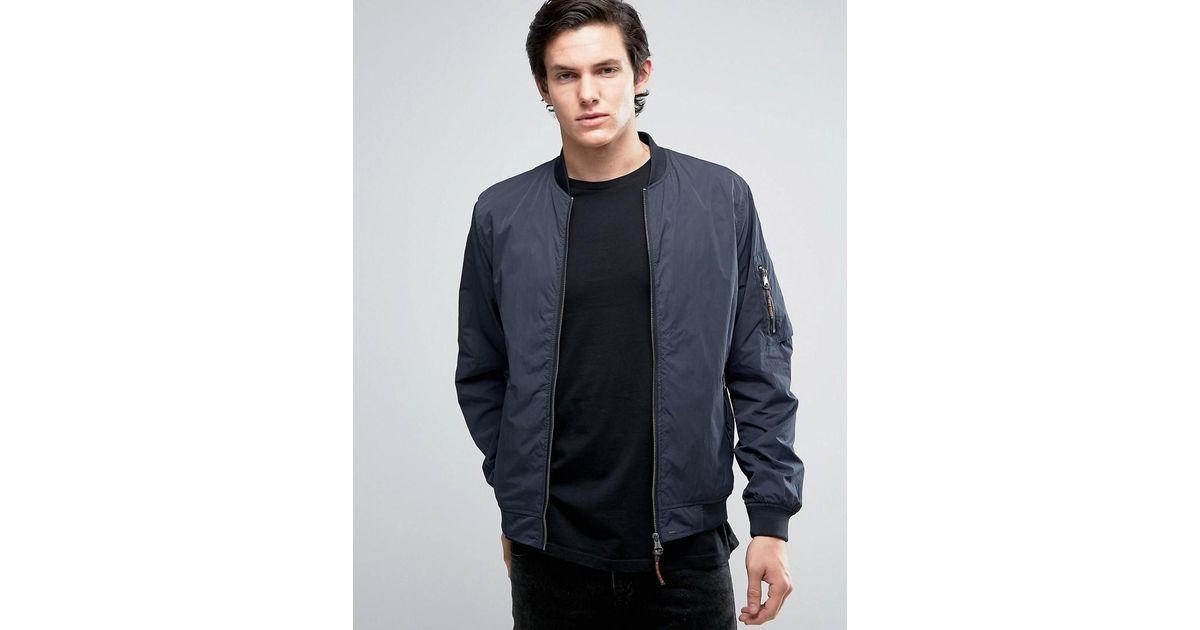 66361716a14 Lyst - Jack   Jones Vintage Bomber Jacket With Ma-1 Pocket in Blue for Men