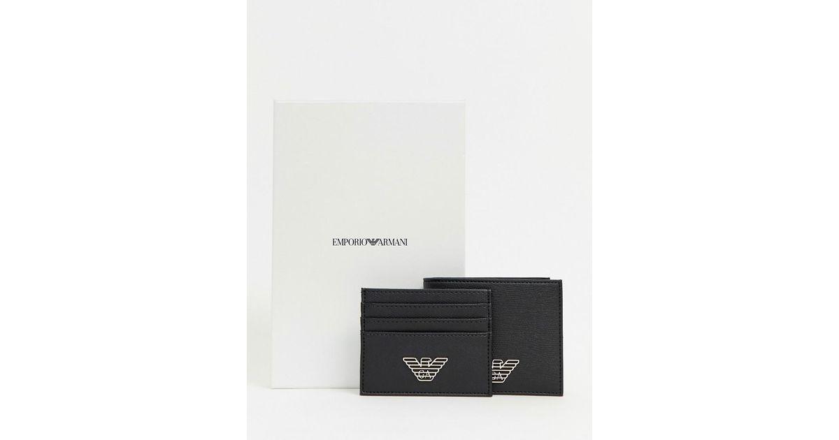 921654ebef1 Lyst - Coffret-cadeau avec portefeuille et porte-cartes avec logo Emporio  Armani pour homme en coloris Noir - 54 % de réduction