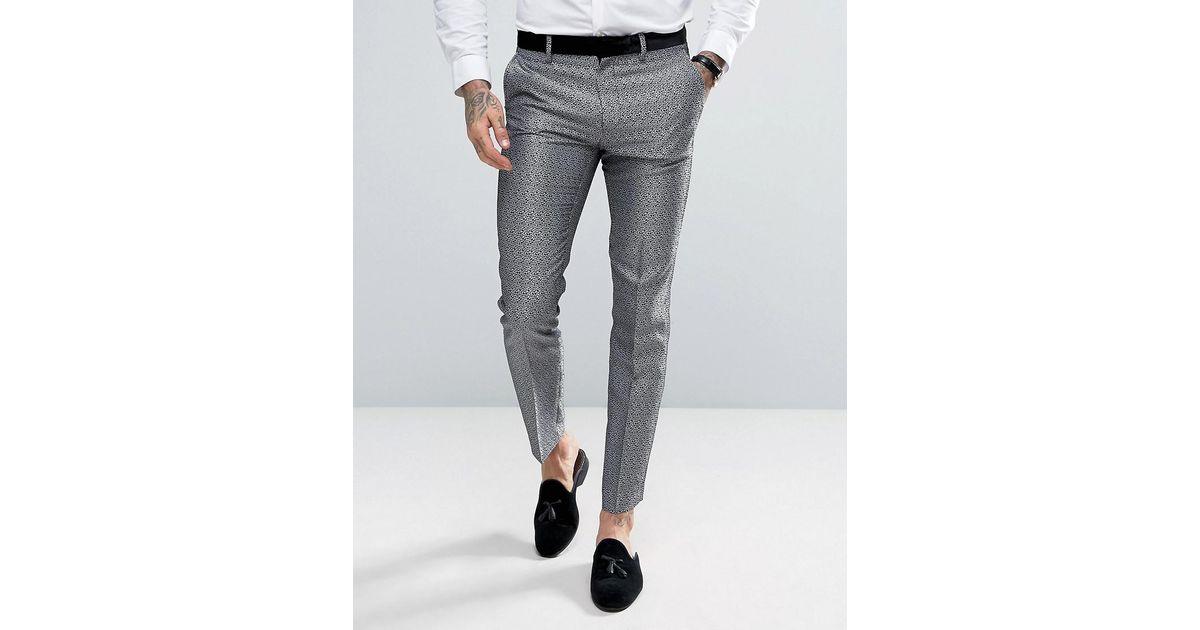 2f1048805893 ASOS Skinny Tuxedo Suit Pants In Silver Leopard Print in Metallic for Men -  Lyst