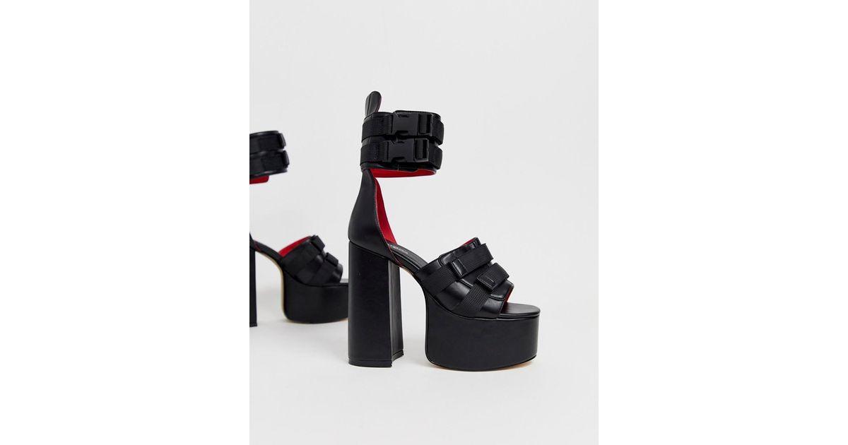 9c479e724a6e Lyst - LAMODA Black Chunky Platform Chunky Heeled Sandals in Black