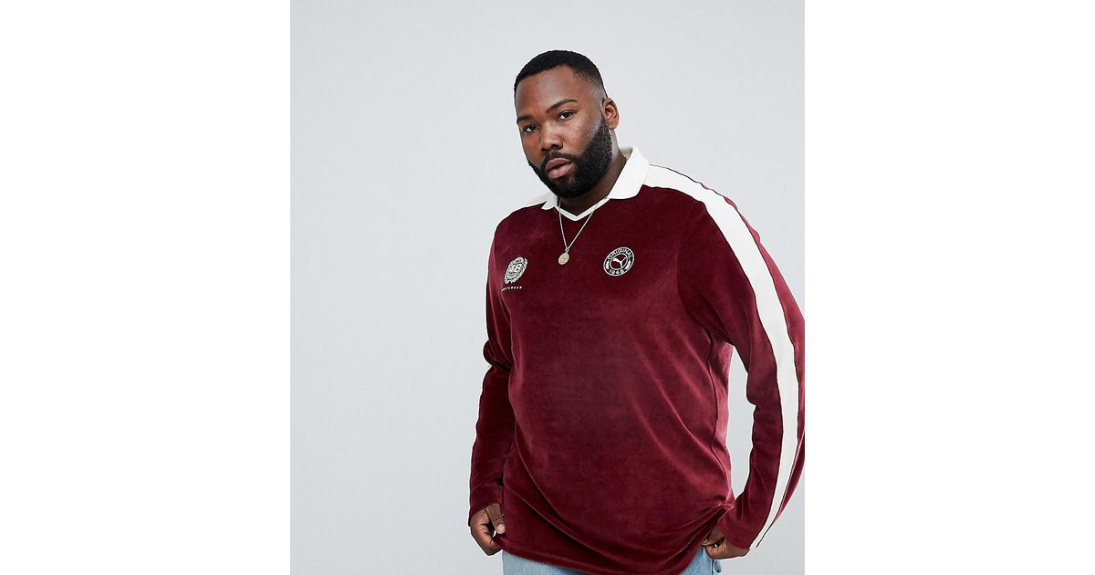 4d821aa9b9e5 PUMA Plus Velvet Football Polo Shirt In Burgundy Exclusive To Asos in Red  for Men - Lyst