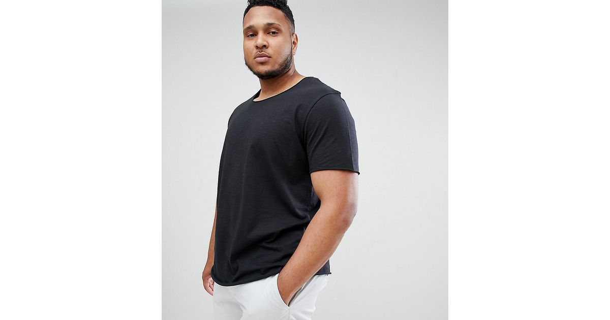 98e82a75 Lyst - Jack & Jones Essentials Plus Size Longline T-shirt With Raw Neck in  Black for Men