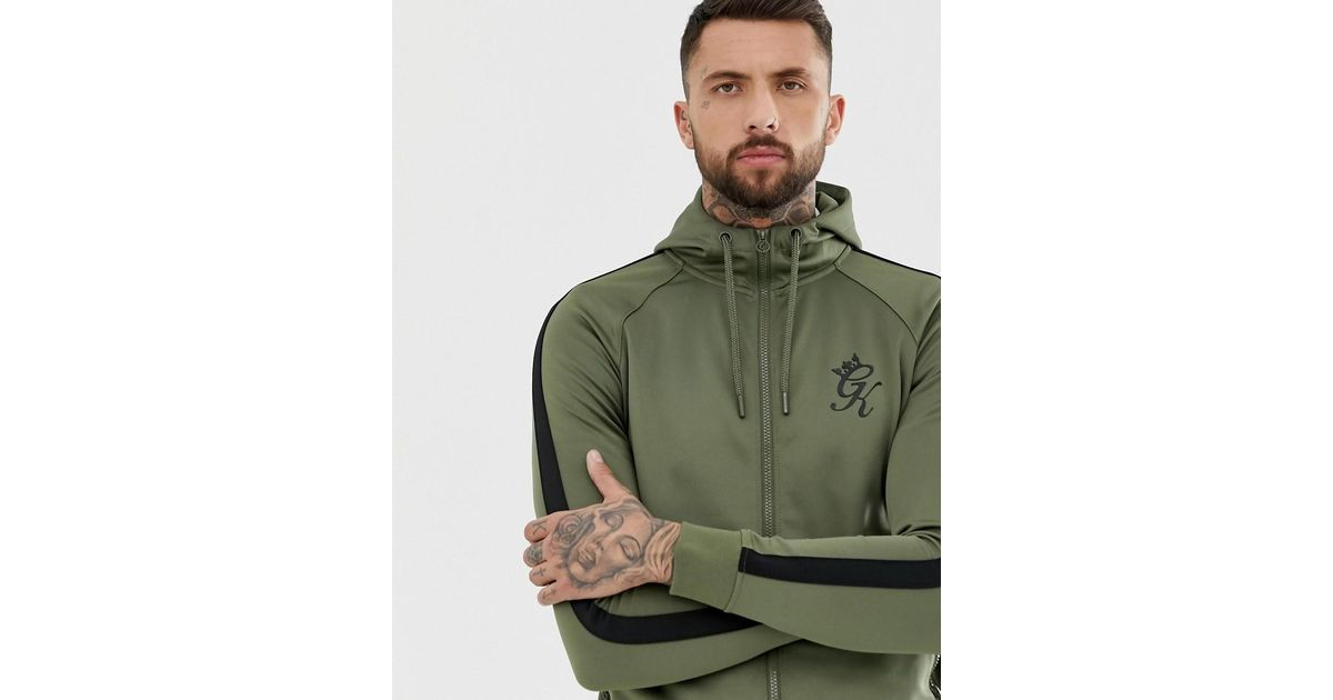c21171f7 Gym King Tapered Poly Tracksuit Zip Thru Top in Green for Men - Lyst