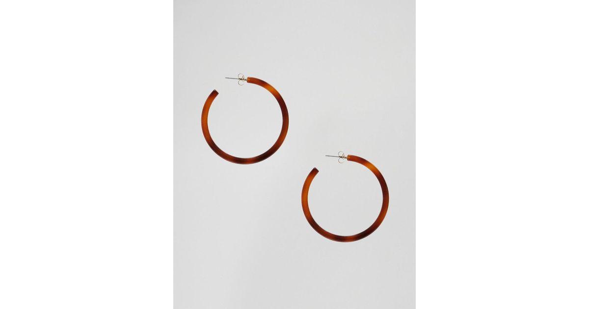 bd9ce1e18 Lyst - Nylon Resin Hoop Earrings in Brown