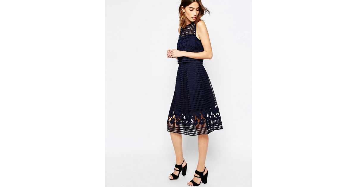 warehouse floral mesh lace midi skirt in black lyst
