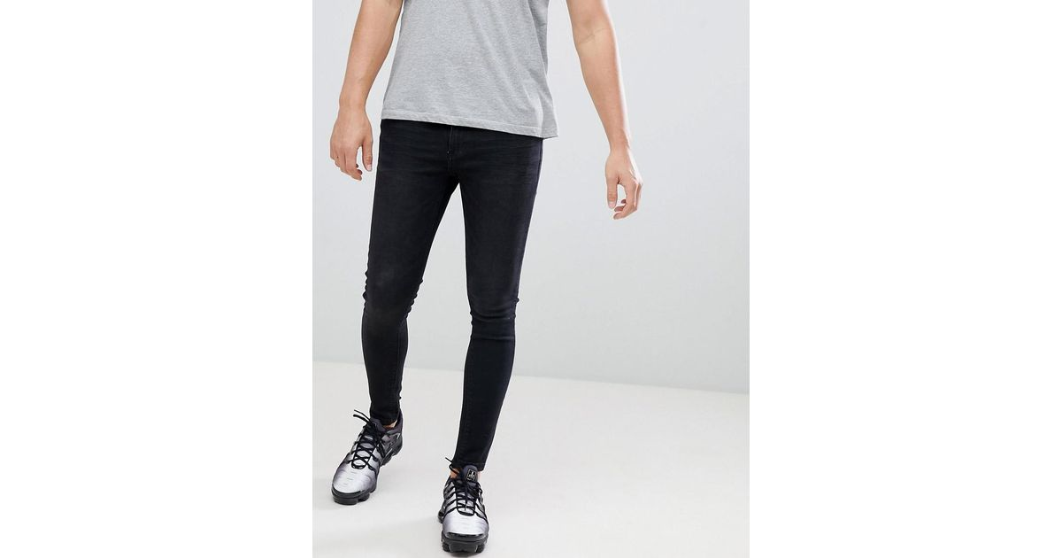 3bc12700b948 Lyst - 11 Degrees Super Skinny Jeans In Washed Black in Black for Men