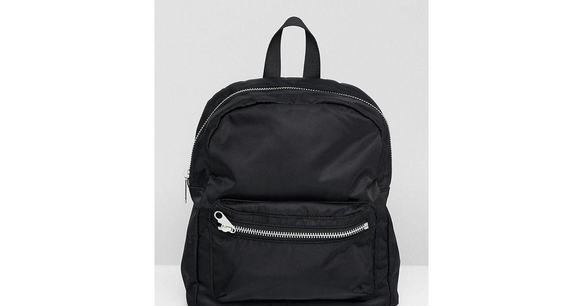 Lyst - Monki Nylon Mini Backpack In Black in Black a6e6445014
