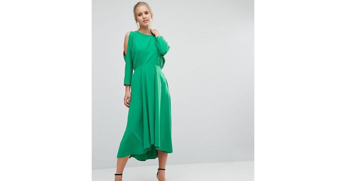 27f85c7bda Closet Closet Cold Shoulder Long Sleeve Dress in Green - Lyst