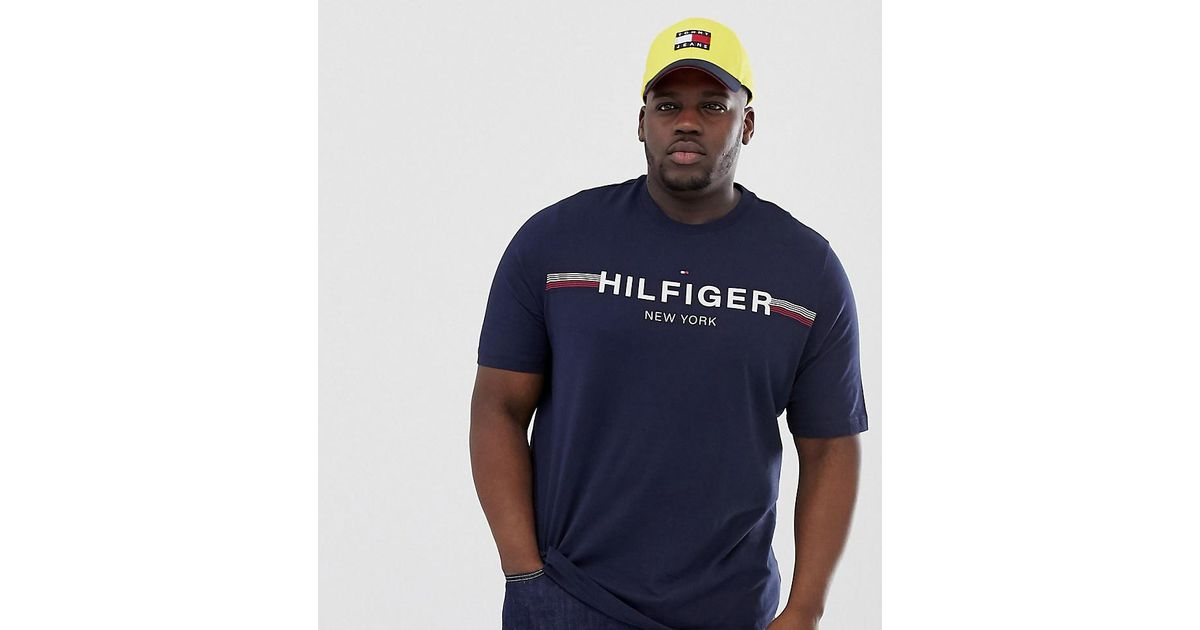 e79b7aae Tommy Hilfiger Big & Tall Icon Stripe Chest Logo T-shirt In Navy in Blue  for Men - Lyst