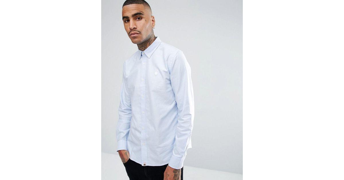 9ef5768375da Pretty Green Long Sleeve Plain Oxford Shirt In Blue in Blue for Men - Lyst