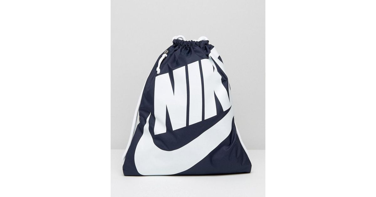 e3d0c42c2773 Nike Heritage Drawstring Backpack In Blue Ba5351-451 in Blue for Men - Lyst