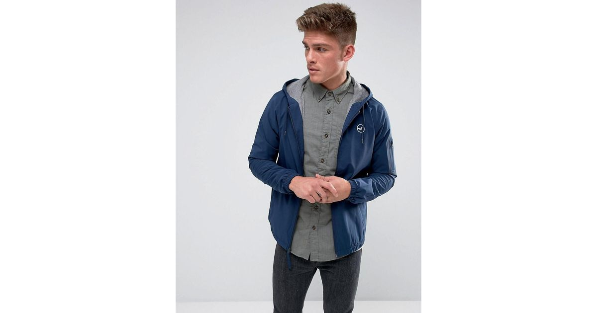 Hollister Windbreaker Jacket Jersey Lined In Navy in Blue ...
