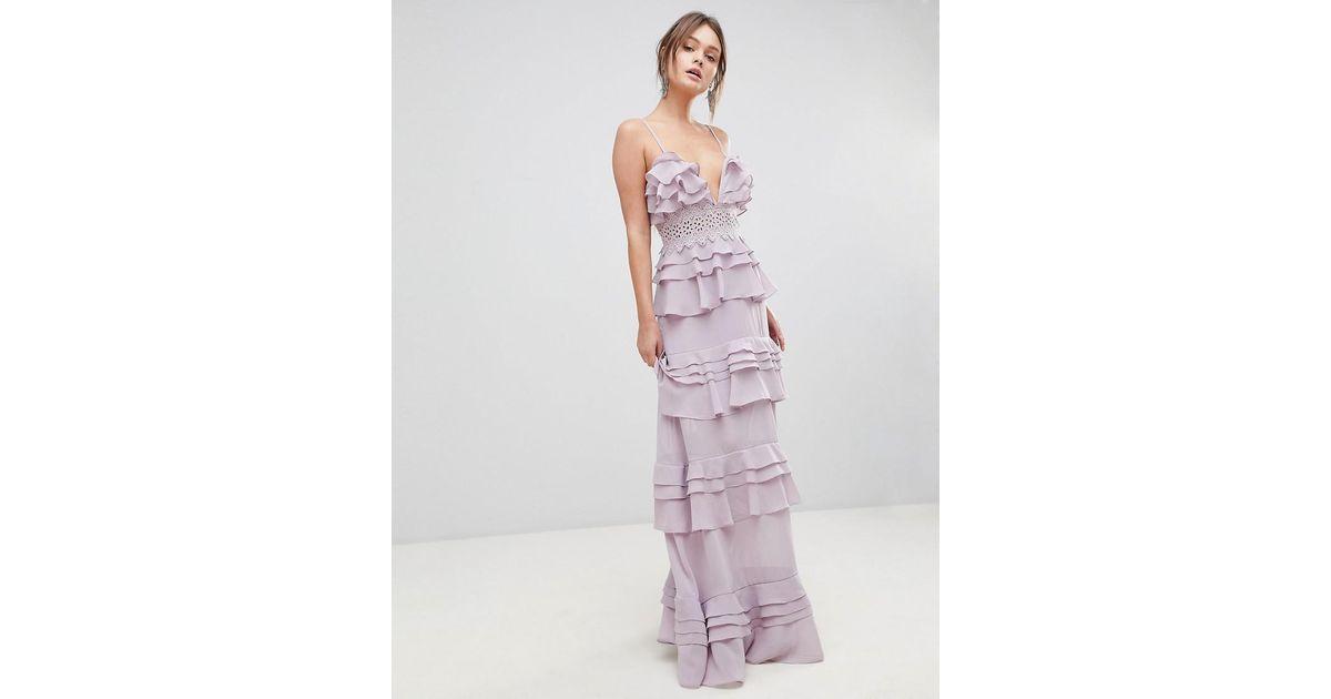 b8068494379 True Decadence Premium Frill Layered Cami Maxi Dress With Lace Insert in  Purple - Lyst