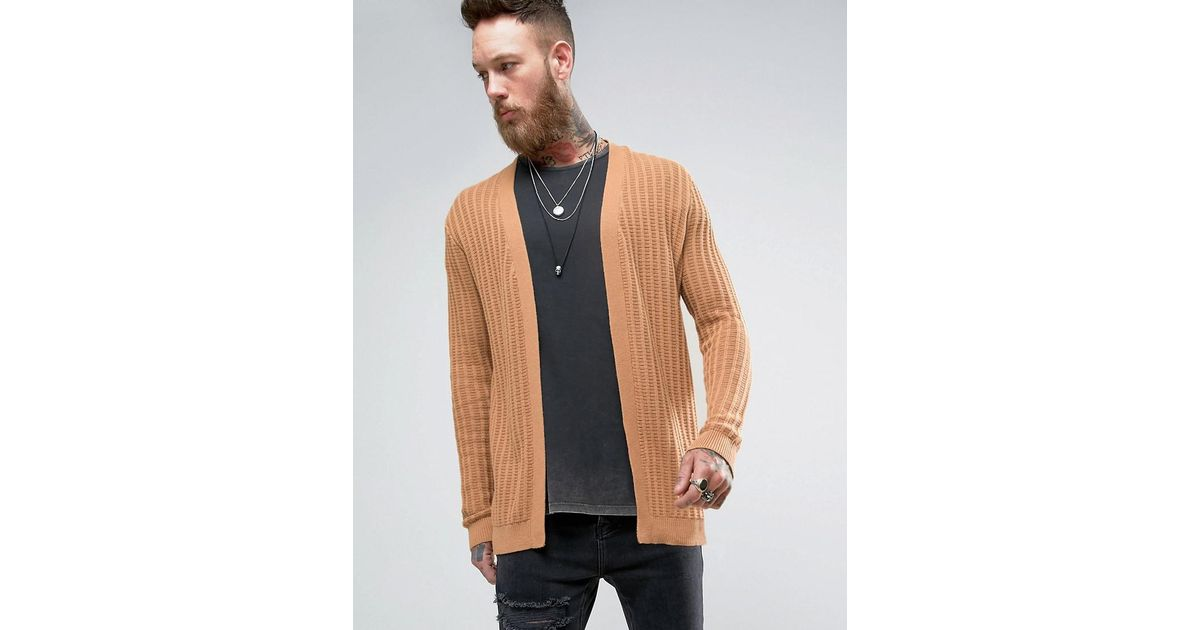 Asos Longline Textured Cardigan In Camel in Brown for Men | Lyst