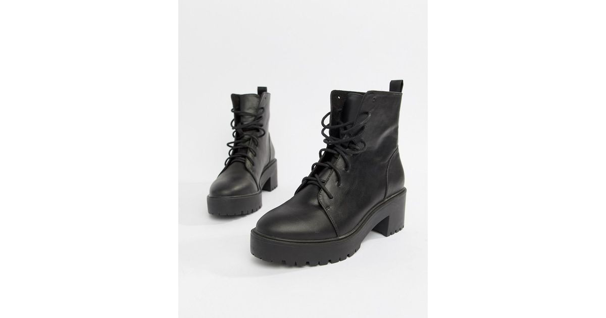 7fe22d37012d ASOS Raider Chunky Lace Up Boots in Black - Lyst