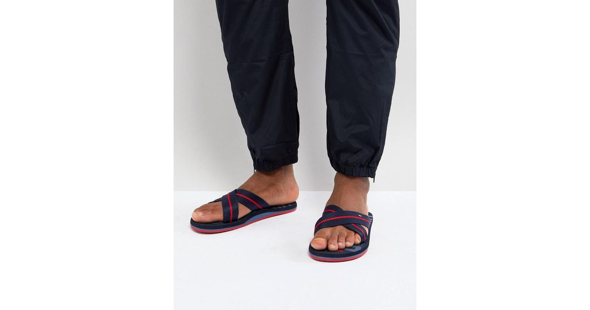 buy cheap purchase Tommy Hilfiger Bold Cross Over Icon Stripe Webbing Sliders in Navy discount 100% authentic bDV7cHNTNv