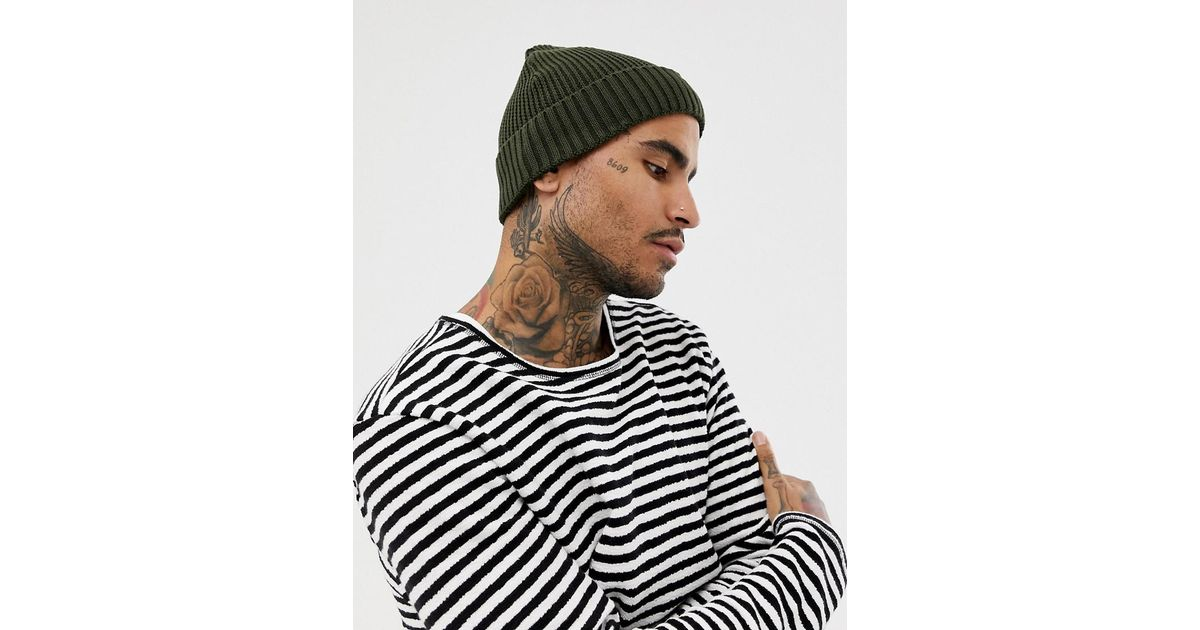 Lyst - ASOS Mini Fisherman Beanie In Olive Rib Knit Recycled Polyester in  Green for Men 978b4cafbe6