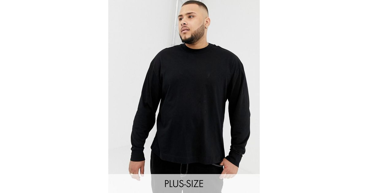 df1c407f951 Collusion Plus Regular Fit Long Sleeve T-shirt In Black in Black for Men -  Lyst