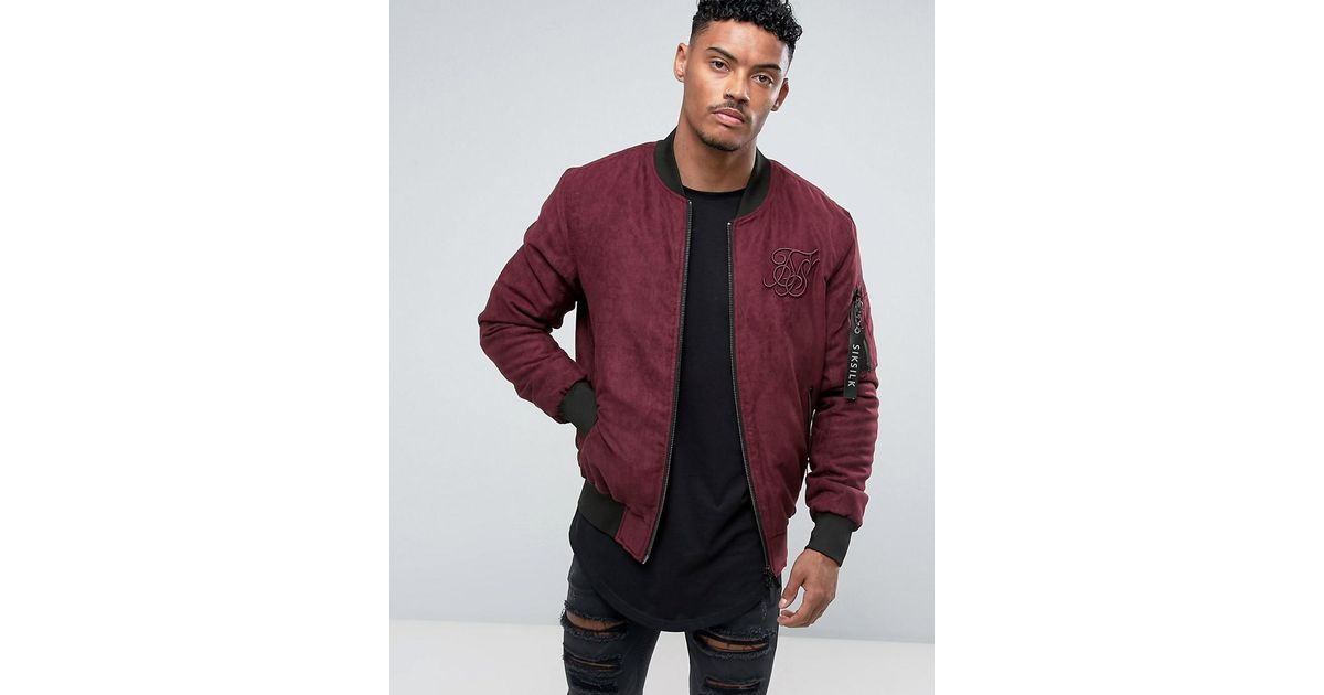 Super SIKSILK Bomber Jacket In Burgundy Faux Suede in Red for Men - Lyst &YV64