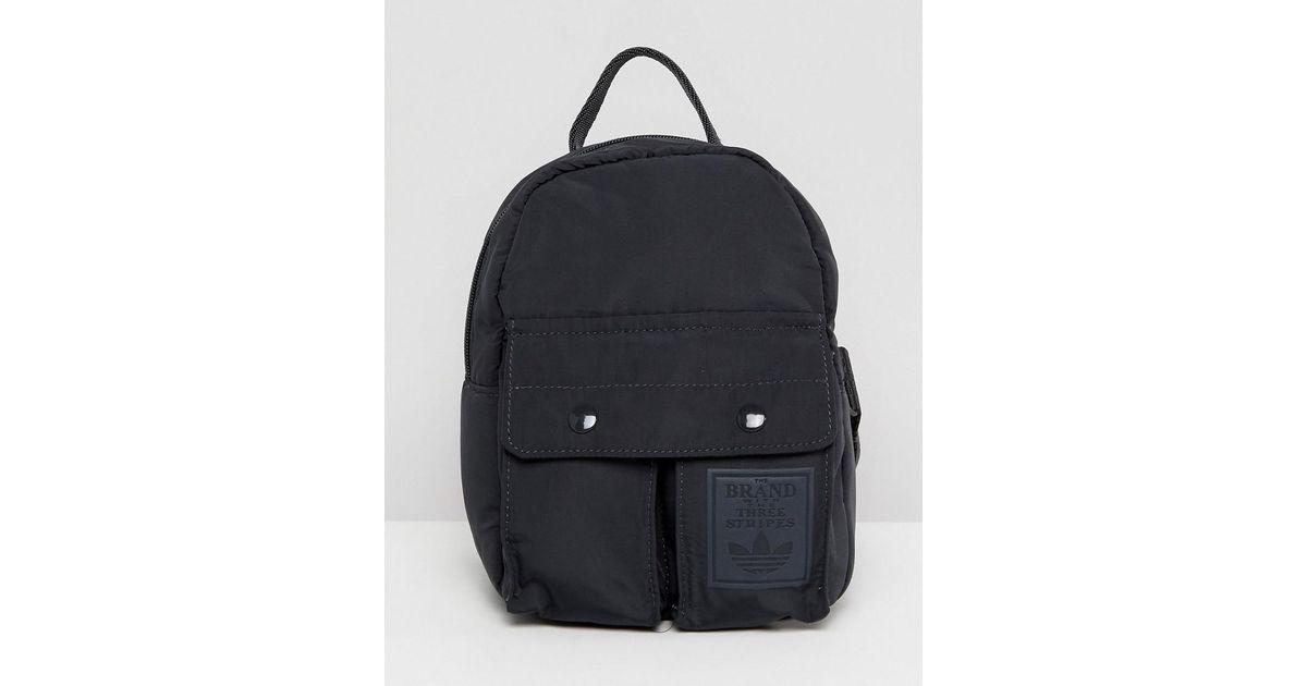 Lyst - adidas Originals Originals Mini Black Backpack With Pockets in Black b8a9b7d1431b4
