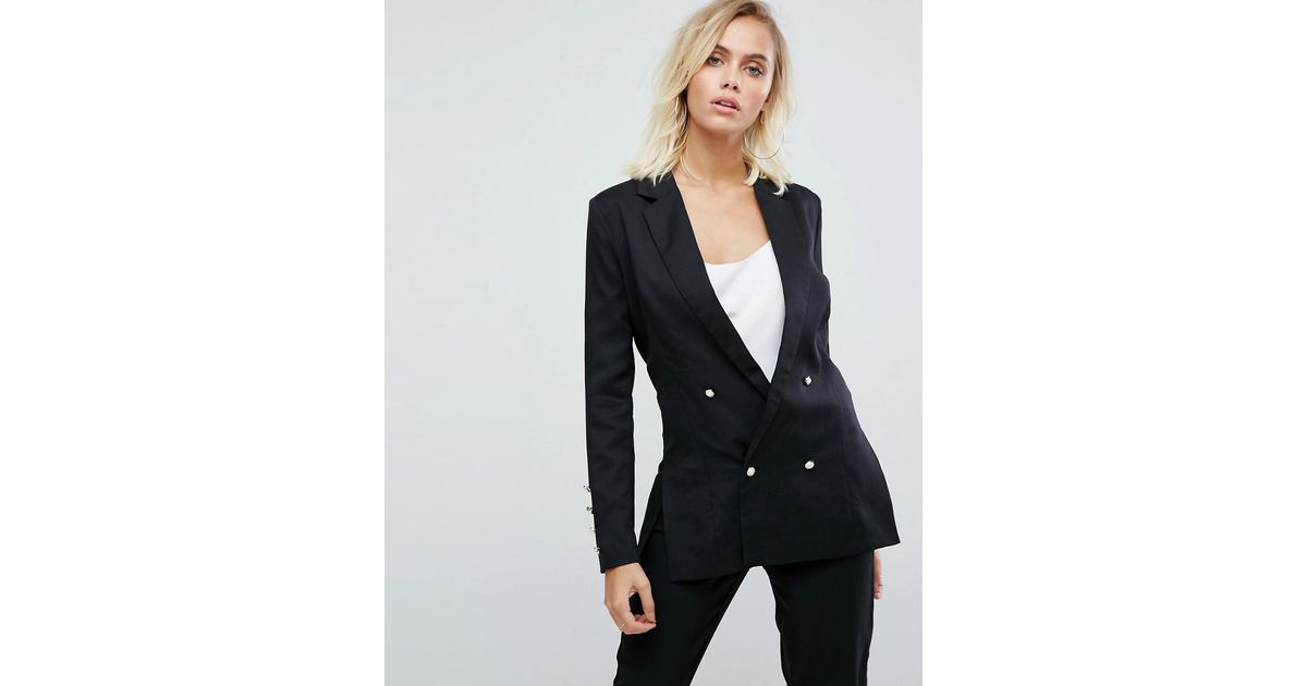 8bb0c4845ed5f Lyst - Fashion Union Double Breasted Blazer With Pearl Buttons in Black