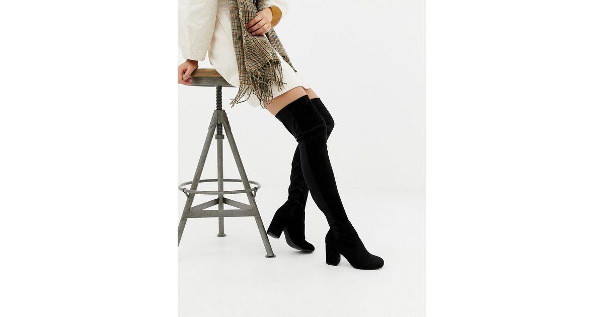 156329ad234 Lyst - ASOS Asos Design Petite Kadi Heeled Thigh High Boots in Black - Save  42%