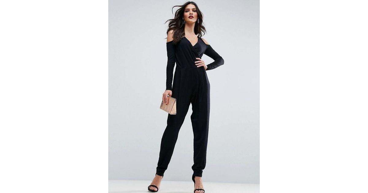 904d6aeffa6 Lyst - ASOS Cold Shoulder Wrap Jumpsuit In Jersey in Black