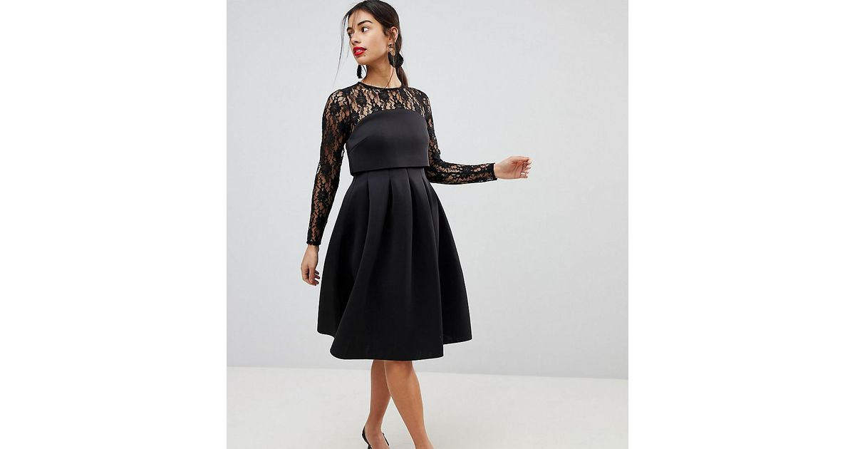 6d40a44c2488 Lyst - ASOS Lace Long Sleeve Crop Top Prom Dress in Black