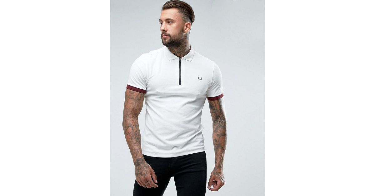 a0c210205 Fred Perry Slim Fit Waffle Polo With Zip In White in White for Men - Lyst