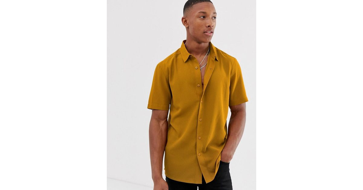 fe303ed0f37 Lyst - ASOS Regular Fit Textured Stripe Shirt In Mustard With Revere Collar  in Yellow for Men
